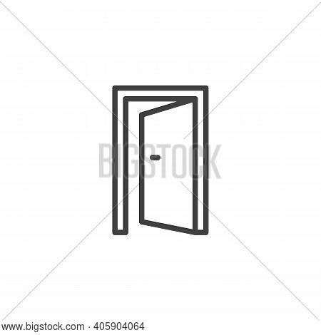 Exit Door Line Icon. Linear Style Sign For Mobile Concept And Web Design. Open Door, Entrance Outlin