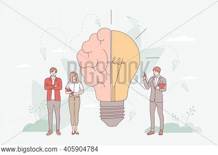 Brainstorming In Imagination Concept. Creative Brain With Innovative Knowledge And Genius Approach T