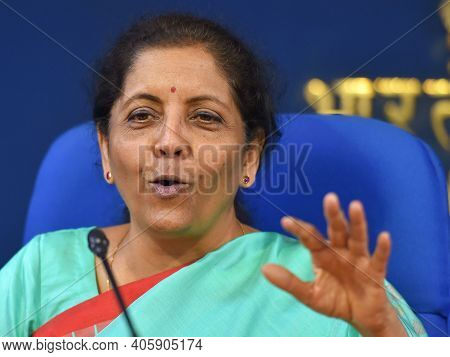 New Delhi, India, January 2021, Indian Finance Minister Nirmala Sitharaman Talking In Summit
