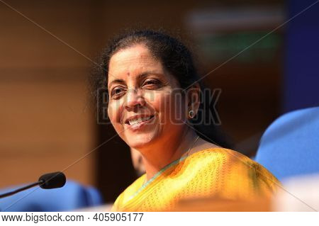 New Delhi, India, November 2020, Indian Finance Minister Nirmala Sitharaman In Meeting