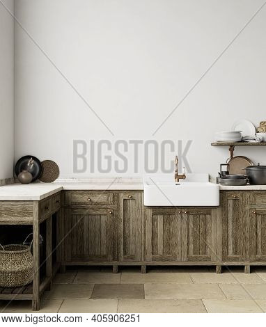 White Kitchen Interior With Sink, Furniture, Dishes And Decor. 3d Render Illustration Mock Up.