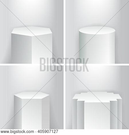 Geometrical Product Showroom Empty Base Podium Platform Stage Pillars Vector Illustration