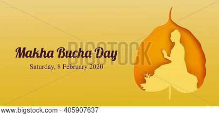 Makha Bucha Day, Buddha Delivering His Teachings Shortly Before His Death To 1,250 Monks, Vector Ill