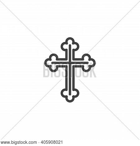 Christian Cross Line Icon. Linear Style Sign For Mobile Concept And Web Design. Religion Cross Outli
