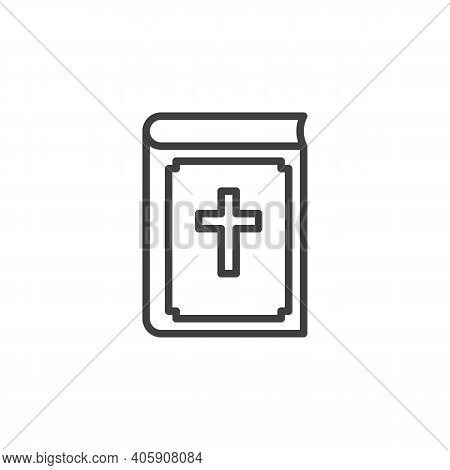 Bible Book With Holy Cross Line Icon. Linear Style Sign For Mobile Concept And Web Design. Holy Bibl