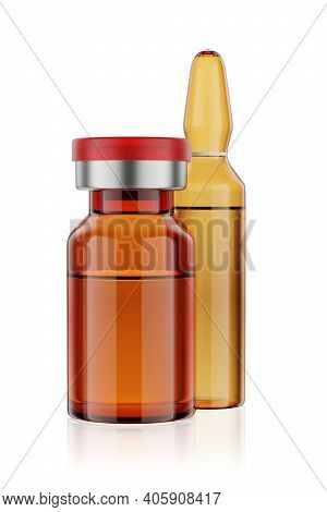 Vaccine Brown Glass Vial And Ampule Isolated On White Background, 3d Rendering.