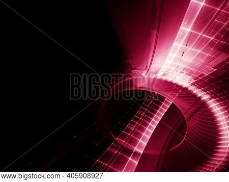 Abstract red and black background. Detailed generative fractal graphics. Technology and science concept.