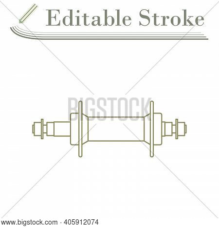 Bike Hub Icon. Editable Stroke Simple Design. Vector Illustration.