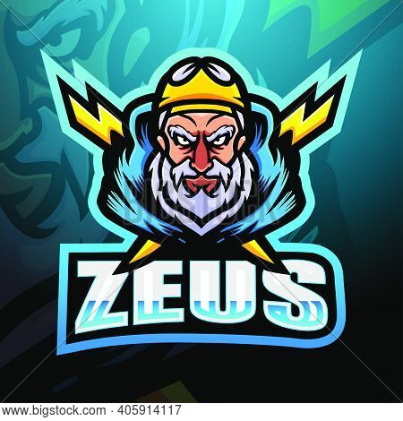 Vector Illustration Of Zeus Mascot Esport Logo Design