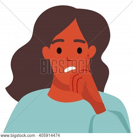 The Girl Is Puzzled By Her Thoughts, A Puzzled Expression On Her Face. The Girl Rests Her Chin On He