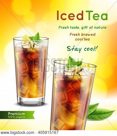 Iced Tea Package Realistic Advertising Composition With 2 Full Glasses Mint Leaves Lemon Promoting T