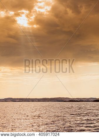 Tourism Vacation And Travel. Landscape And Fjord Coastline Near Bergen In Norway, Scandinavia.