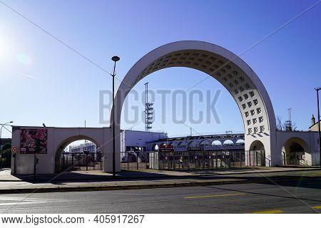 Bordeaux , Aquitaine  France - 01 24 2021 : Stade Chaban Delmas Building Sport Entrance Sporty Ubb R