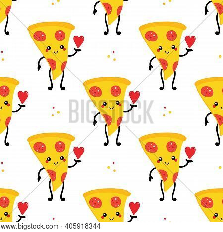 Cute Cartoon Style Smiling Pizza Character Holding Red Heart In Hand Vector Seamless Pattern Backgro