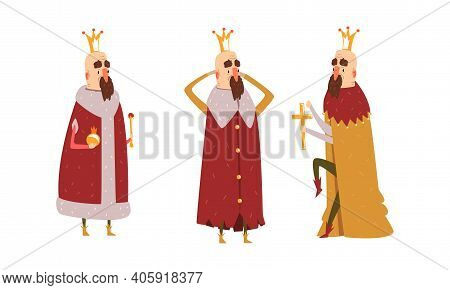Funny King Character Set, Old Comic Bald Bearded King Wearing Gold Crown And Mantel In Various Actio