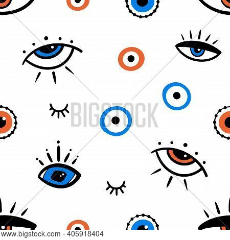 Decorative Eyes In Different Shapes And Sizes Vector Seamless Pattern Background. Intuition And Spir