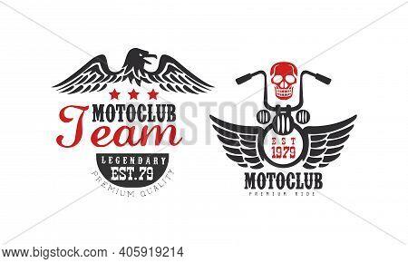 Motoclub Team Premium Ride Retro Logo Templates Set, Racer Team Vintage Badges Vector Illustration
