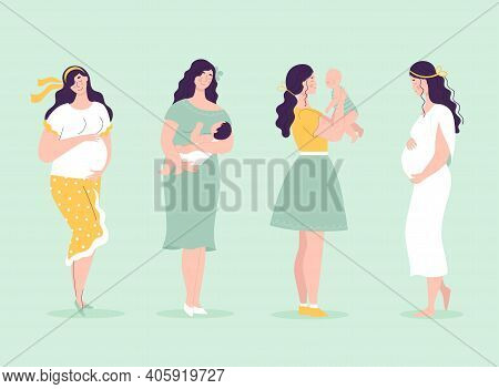 Set Of Young Beautiful Pregnant Women In Full Growth. Women With Babies. Happy Motherhood Concept, P