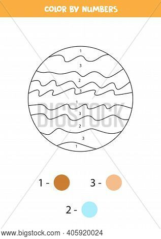 Color Planet Jupiter By Numbers. Space Themed Worksheet For Kids.