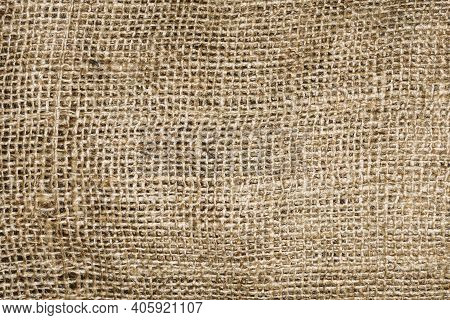 Natural Brown Linen Fabric Background. Fiber Structure Texture. Vintage Canvas Pattern. Rustic Decor