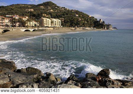 Finale Ligure (sv), Italy - December 30, 2017: Finale Ligure Beach, Italian Riviera, Savona, Liguria
