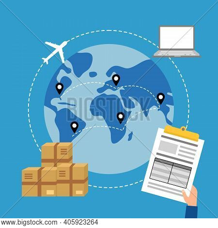 Online Business Trading With Express International Shipping Concept Vector Illustration. Computer, A