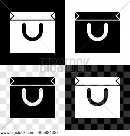 Set Shopping Bag Icon Isolated On Black And White, Transparent Background. Shopping Bag Shop Love Li