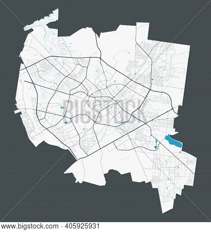 Bialystok Map. Detailed Map Of Bialystok City Administrative Area. Cityscape Panorama. Royalty Free