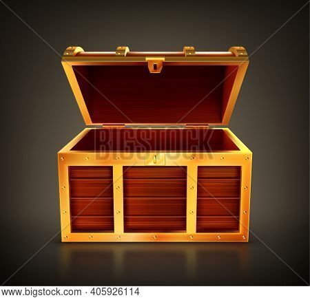 Treasure Chest, Empty Wooden Box, Open Casket With Golden Details And Keyhole. Old Trunk For Gold Or