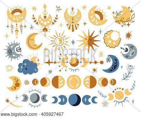 Celestial Lunar Boho Clipart Set, Isolated Moon Phases, Sun And Stars On White Background, Kids Myst