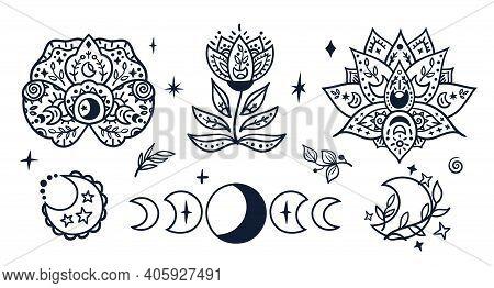 Black-white Celestial Moon Phases And Flowers Kids Clipart, Hand Drawn Boho Line Lotus Flower, Sun,