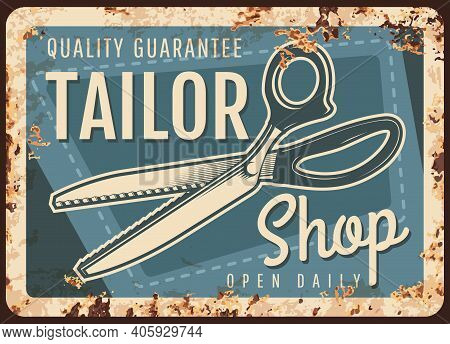 Tailor Shop Rusty Metal Plate With Scissors And Sewing Stitch On Vector Vintage Rust Background. Fas