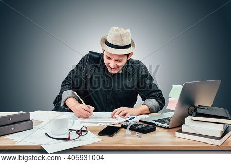 Angry And Frustrated Businessman Overworked At Desk Upset With Laptop Before Him Go To Holiday, Voca