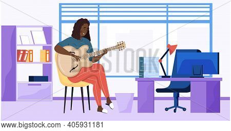 Woman Sings Song. Girl Sits In Office With Guitar. Person Creates Music. Female Character Uses Music