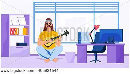 Male Bard Sitting With Ukulele In Office. Musician Plays Strings On Instrument. Person Creates Music