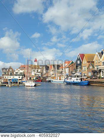 Harbor In Village Of Urk At Ijsselmeer,netherlands