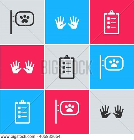 Set Pet Grooming, Medical Rubber Gloves And Grooming Salon Price List Icon. Vector