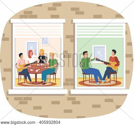 People Sing Songs And Play Guitar View Through Window. Coronavirus, Social Isolation, Quarantine Con