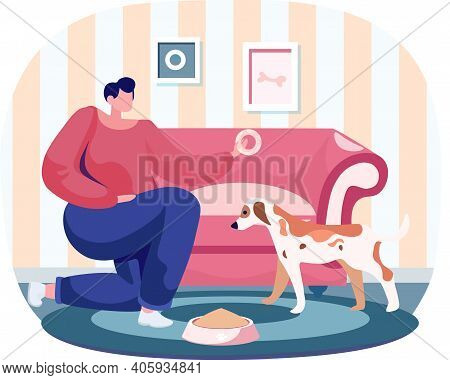 Pet Owner Woman Playing With Dog At Home, Takes Care Of Him, Funny Girl Training Puppy, Gives Him Do