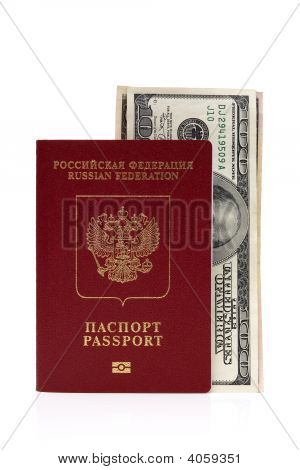 Passport Of Russian Federation And Us Dollars