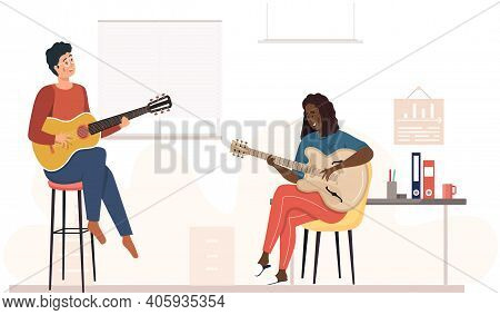 Man And Woman Are Playing Guitar In Group. Musicians Sing And Make Melody Together In Office. Musici