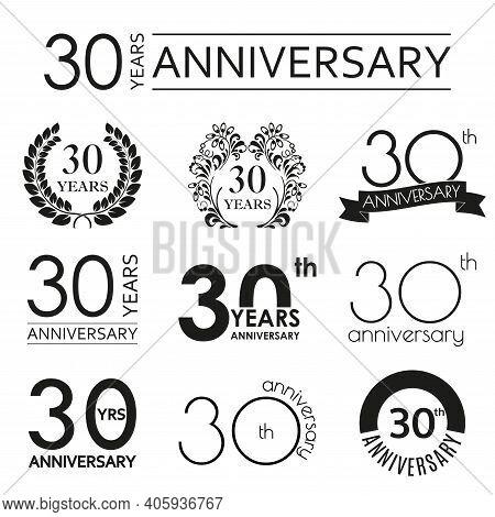 30 Years Anniversary Icon Set. 30th Anniversary Celebration Logo. Design Elements For Birthday, Invi