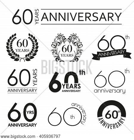 60 Years Anniversary Icon Set. 60th Anniversary Celebration Logo. Design Elements For Birthday, Invi