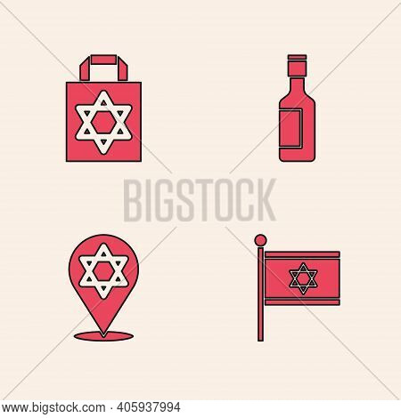 Set Flag Of Israel, Shopping Bag With Star David, Jewish Wine Bottle And Star David Icon. Vector