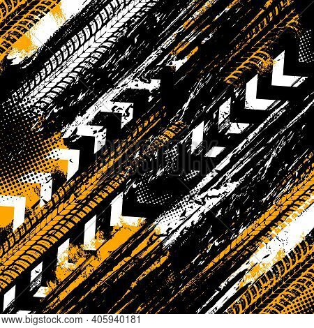 Offroad Grunge Tyre Prints, Vector Background With Grungy Abstract Pattern. Rally, Motocross Dirty T
