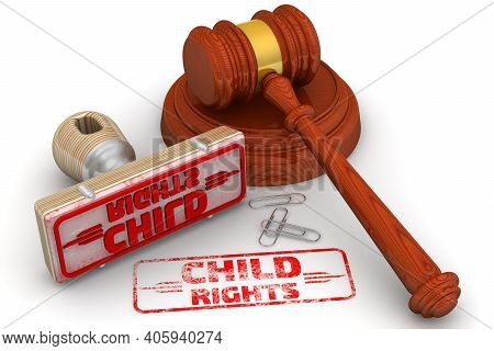 Child Rights. The Stamp And An Imprint. Wooden Stamp And Red Imprint Child Rights With Judge's Hamme