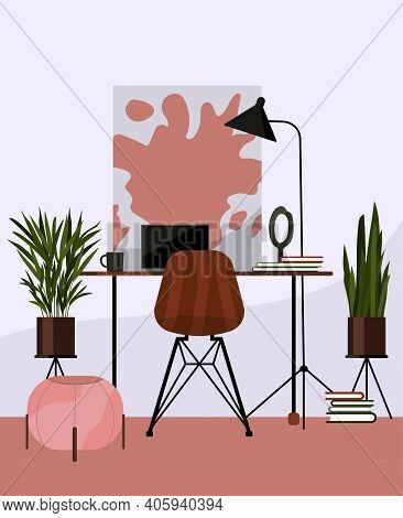 Living Room  With Houseplants. Creative Workplace Room, Cabinet, Loft Design. Artists Desktop With M