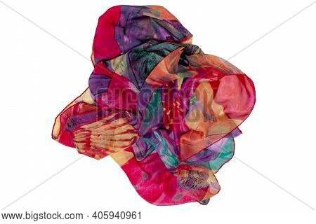 Silk Neckerchief Isolated. Closeup Of A Beautifully Folded Multicolored Silk Scarf Or Headscarf With