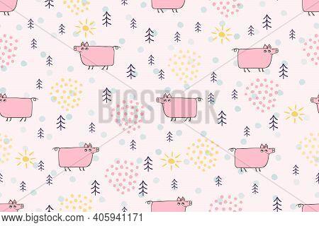 Cute Pig Seamless Pattern. Hand Drawn Pig Cartoon Character Childrens Illustration. Cute Pink Animal