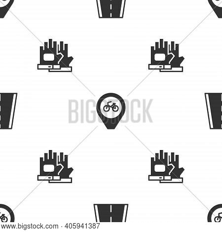 Set Bicycle Lane, Location With Bicycle And Gloves On Seamless Pattern. Vector